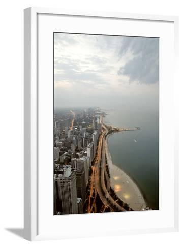 Lake Michigan and Chicago Skyline.-Ixefra-Framed Art Print