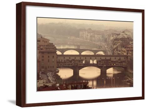 Italy, Tuscany, Florence, Ponte Vecchio and Arno River with Bridge-Jeff Spielman-Framed Art Print