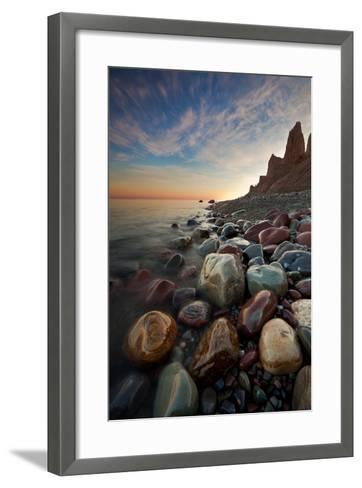 Sunrise at Chimney Bluffs-David Copley-Framed Art Print
