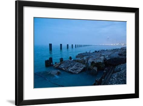 Foggy View of Chicago from Lakeshore-Megan Ahrens-Framed Art Print