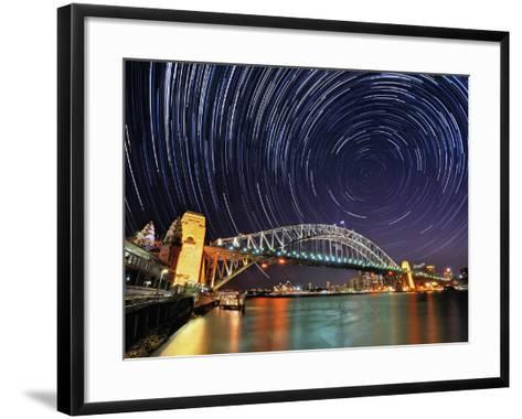 Star-Trail over Sydney-AtomicZen-Framed Art Print