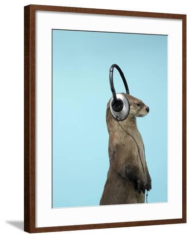 Sea Otter Listening to Headphones-Andy Reynolds-Framed Art Print