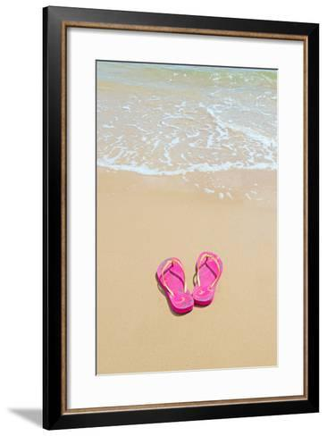Flip Flops on a Sandy Beach-Kathy Collins-Framed Art Print