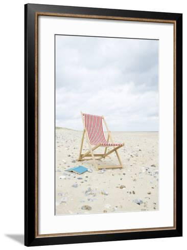 Deck Chair with Book on Sand at Beach.-Dougal Waters-Framed Art Print