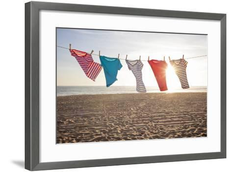 T-Shirts Hanging on a Clothesline at the Beach-Siri Stafford-Framed Art Print