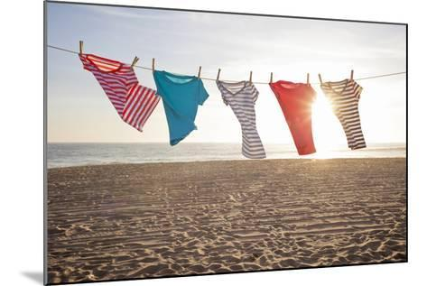 T-Shirts Hanging on a Clothesline at the Beach-Siri Stafford-Mounted Photographic Print