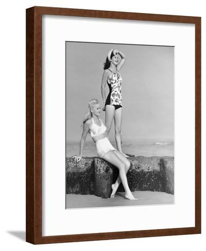 Two Women in Bathing Suits-George Marks-Framed Art Print