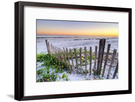 A Beach Fence at Sunset on Hilton Head Island, South Carolina.-Rachid Dahnoun-Framed Art Print