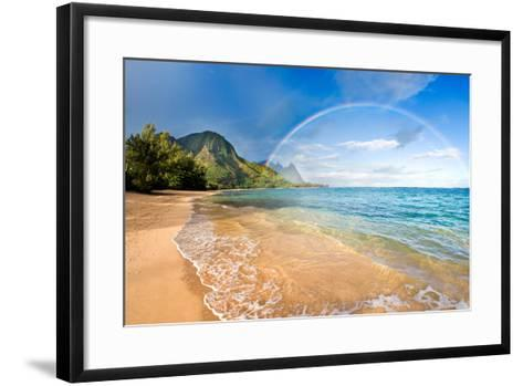 Rainbow Paradise Beach-M Swiet Productions-Framed Art Print