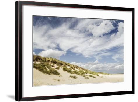 Empty Beach and Dunes with Big Cloudy Sky-Daniel Halpin Photography-Framed Art Print