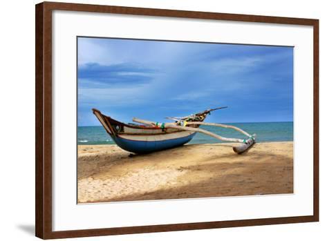 Wooden Catamaran by the Sea Shore-Juavenita Alphonsus-Framed Art Print