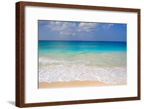 Blue Ocean and White Water Crashing on the Sand.-Alberto Guglielmi-Framed Art Print
