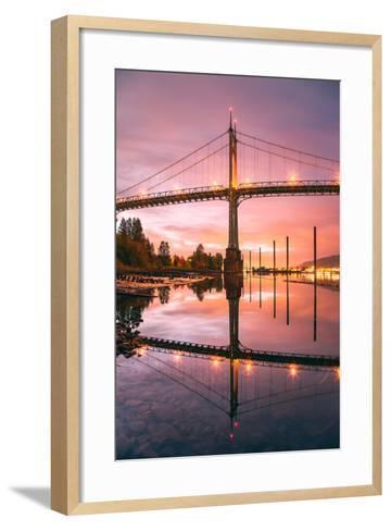 Sunrise Reflection at St. John's Bridge, Portland, Oregon PDX-Vincent James-Framed Art Print