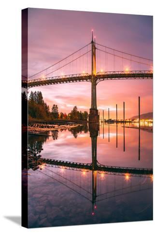 Sunrise Reflection at St. John's Bridge, Portland, Oregon PDX-Vincent James-Stretched Canvas Print