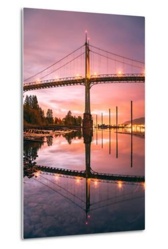 Sunrise Reflection at St. John's Bridge, Portland, Oregon PDX-Vincent James-Metal Print