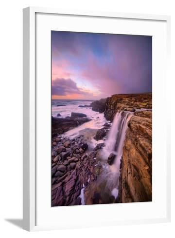Blustery Phillips Gulch Waterfall at Sunset, Sonoma Coast, California-Vincent James-Framed Art Print