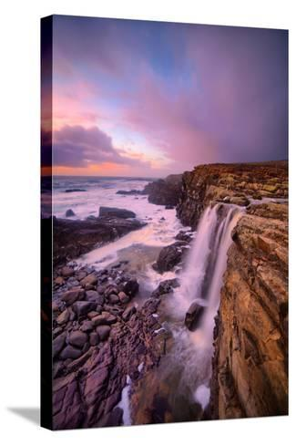 Blustery Phillips Gulch Waterfall at Sunset, Sonoma Coast, California-Vincent James-Stretched Canvas Print
