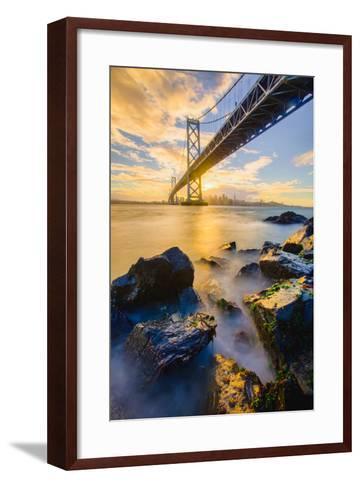 Warm Sunset Bay View San Francisco, Under Bay Bridge-Vincent James-Framed Art Print