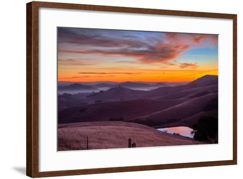 Dark Mood and Sunrise Hills, Petaluma Sonoma County, Bay Area-Vincent James-Framed Art Print