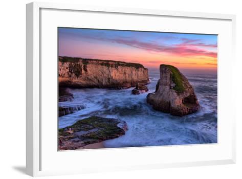 Sunset Seascape, Shark Fin Cove, Davenport, Santa Cruz, Pacific Ocean-Vincent James-Framed Art Print