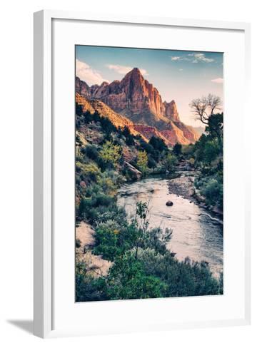 Dreamy Zion, Virgin River and Watchmen in Autumn, Zion National Park-Vincent James-Framed Art Print