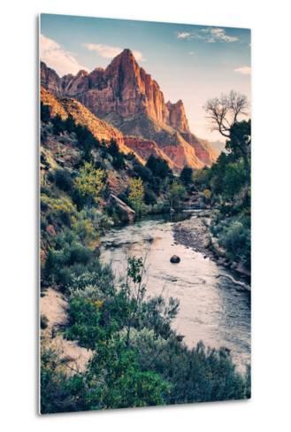 Dreamy Zion, Virgin River and Watchmen in Autumn, Zion National Park-Vincent James-Metal Print