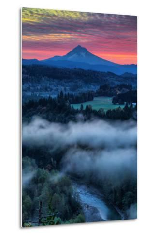 Sunrise Mood and Fire at Mount Hood, Sandy, Oregon, Portland-Vincent James-Metal Print