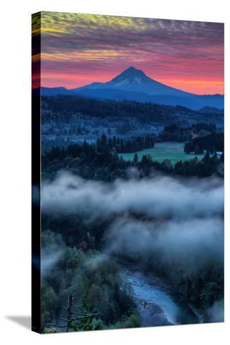 Sunrise Mood and Fire at Mount Hood, Sandy, Oregon, Portland-Vincent James-Stretched Canvas Print