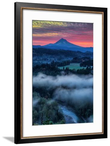 Sunrise Mood and Fire at Mount Hood, Sandy, Oregon, Portland-Vincent James-Framed Art Print