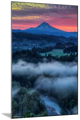 Sunrise Mood and Fire at Mount Hood, Sandy, Oregon, Portland-Vincent James-Mounted Photographic Print