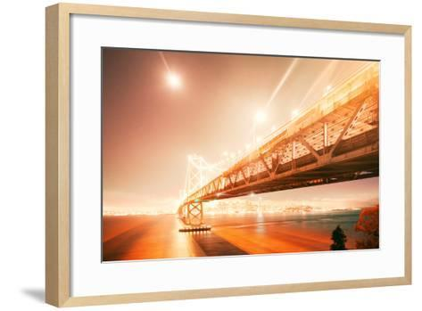 Peach Light Fantastic Cityscape at San Francisco Bay Bridge-Vincent James-Framed Art Print