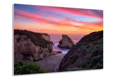 Bluff Sunset View at Shark Fin Cove, California Coast, Santa Cruz, Davenport-Vincent James-Metal Print