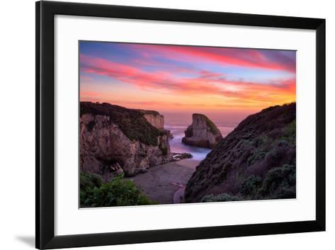 Bluff Sunset View at Shark Fin Cove, California Coast, Santa Cruz, Davenport-Vincent James-Framed Art Print
