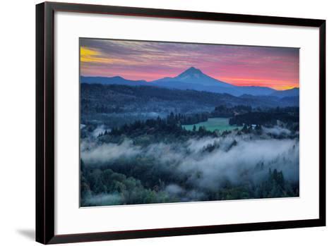 Light Fog at Sunrise from Jonsrud Point, Mount Hood Oregon-Vincent James-Framed Art Print