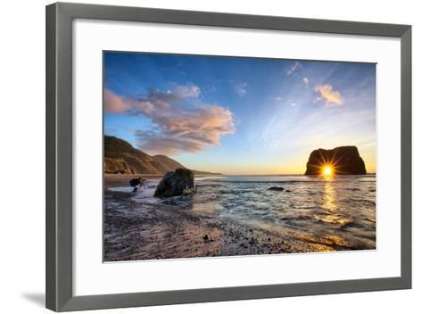 Workign the Coast, Sunset at Elephant Roack, Fort Bragg, Mendocino-Vincent James-Framed Art Print