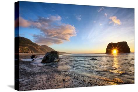 Workign the Coast, Sunset at Elephant Roack, Fort Bragg, Mendocino-Vincent James-Stretched Canvas Print