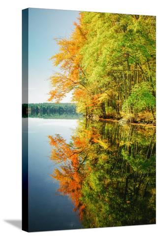 Fall Color Reflections ay Holderness New Hampshire, New England-Vincent James-Stretched Canvas Print