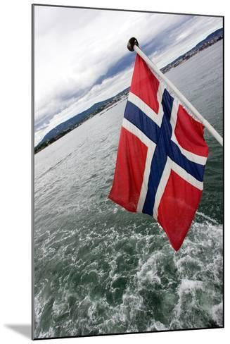 Norwegian Flag on a Boat-Felipe Rodríguez-Mounted Photographic Print