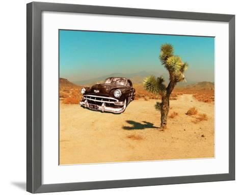 Edited Image of Classic Car in Amrican Desert-Salvatore Elia-Framed Art Print