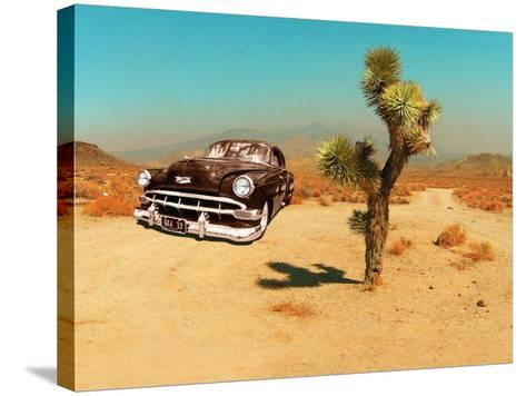 Edited Image of Classic Car in Amrican Desert-Salvatore Elia-Stretched Canvas Print