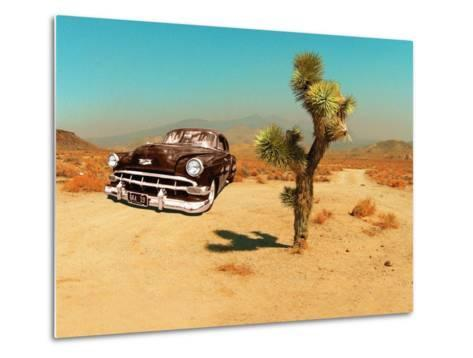 Edited Image of Classic Car in Amrican Desert-Salvatore Elia-Metal Print