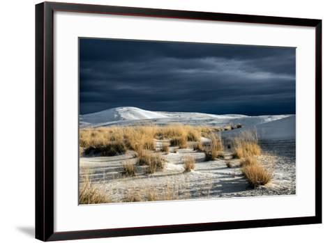 Barren Desert Landscape with Grasses under a Blue Sky-Jody Miller-Framed Art Print