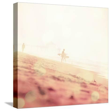 Beach Scene with Surfer in USA-Myan Soffia-Stretched Canvas Print