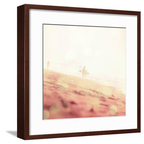 Beach Scene with Surfer in USA-Myan Soffia-Framed Art Print