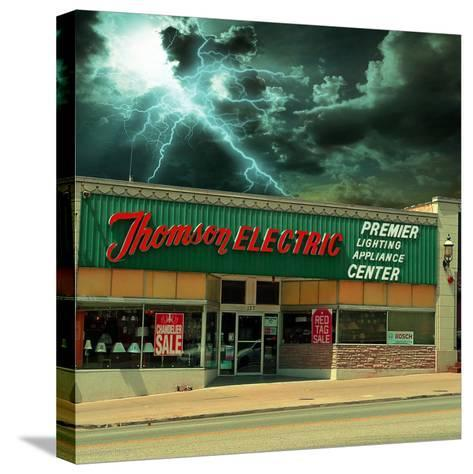 Vintage Street Signage in America for Electrical Shop-Salvatore Elia-Stretched Canvas Print