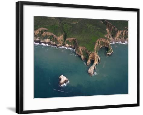 Wave Erosion of a Rocky Headland at Pt. Reyes National Seashore, California, Usa. Note the Seastack-Marli Miller-Framed Art Print