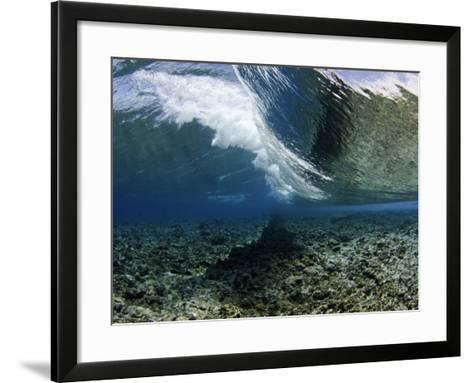 Underwater View of a Wave Crashing over a Coral Reef, Micronesia-David Fleetham-Framed Art Print