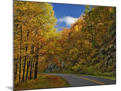 Blue Ridge Parkway Curving Through Autumn Colors Near Grandfather Mountain, North Carolina, USA-Adam Jones-Mounted Photographic Print