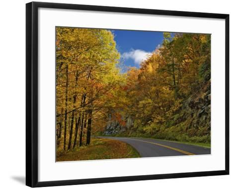 Blue Ridge Parkway Curving Through Autumn Colors Near Grandfather Mountain, North Carolina, USA-Adam Jones-Framed Art Print