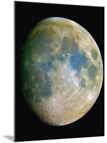 The Waxing Moon. the Blue Areas are Indicative of Titanium-Rich Minerals-Guillermo Gonzalez-Mounted Photographic Print